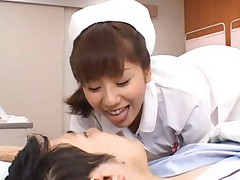Yuma Asami Asian nurse sits with ass in white lingerie over dude
