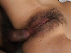 Hina Hinako Asian model undresses and shows off hairy pussy and anus