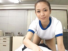 Shelly Fujii Asian in sportive t-shirt makes dong erect in pants