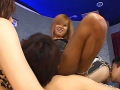 Japanese AV Model has muff licked in orgy with lots of gals