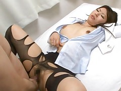 Sayuri Meike Asian with full of holes black stockings gets fucked