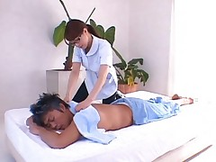 Akiho Yoshizawa with specs giving arousing massage to a fellow