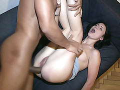 Enormous big black penis enters tight asshole of girlie