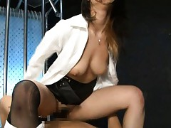 Maria Ozawa Asian with broken stockings and big tits rides tool