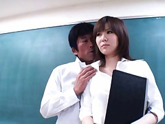 Nanako Mori Asian is fondled on jugs while reads book in class