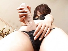 Rin Asian nymphet sticks huge stick in her thong to rub vagina