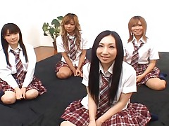 Japanese AV models in school uniforms have a fuckfest with guys