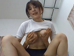 Saki Tsuji Asian sits with her cunt in pants on man's mouth