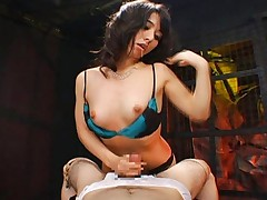 Yuka Osawa pulls his cock out so she can give it a handjob