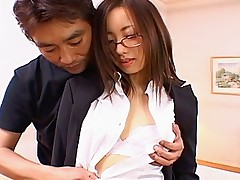 Slutty Asian office girl gets fucked on a desk and a cum facial in the office