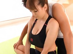 Hitomi Tanaka Asian has huge chest touched by her gym trainer