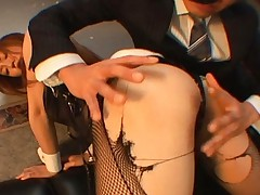 Emi Harukaze has her pantyhose ripped and pussy fingered