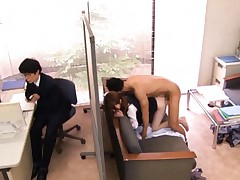 Miku Ohashi Asian is doggy style fucked next to colleague office