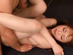 Akiho Yoshizawa is on her back getting a hard pussy pounding