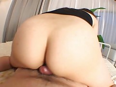 Mai Miyama spreads her legs to rub her cunt lips on his dick