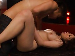 Alice Ozawa Asian with nasty hooters has hairy pussy licked well