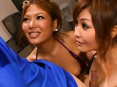Aya Matsuki Asian sucks dong while another whore licks jewels