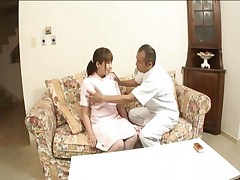 Myuu Hasegawa's tits are squeezed by an old man she wants to fuck
