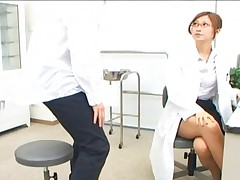 Chihiro Hara naughty nurse inspecting her patients hard cock