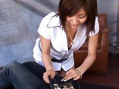 Yuma Asami sexy Asian chick in white exposes hard cock to suck