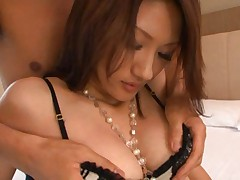Rina Fujimoto Asian has green dress taken off and chest caressed