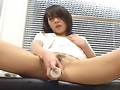 Naughty Asian babe is masturbating with her favorite pussy toy