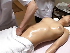Sora Aoi Asian has has pussy rubbed and tits teased at massage