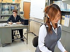 Cute Asian office slut fingers her pussy while on her coffee break