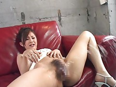 Suzuka Ishihara has sperm all over hairy cunt and sucks shlong