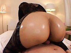 Japanese AV Model with oiled ass out of lace rubs phallus with it