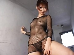Rin Asian nymphet poses so hot in black fishnet dress and thong