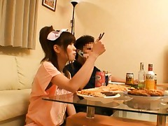 Miho Imamura Asian takes lunch and licks dildo as dessert