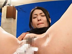 Ryu Asian babe with erect nipples has peach fucked with vibrator