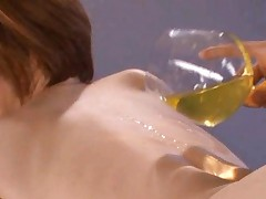 Yuria Satomi Asian has sexy back licked of wine poured by hunk