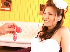 Yuna Shiina Asian gets sex toy on her chest over bride corset