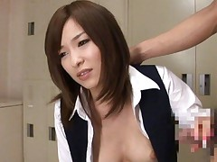 Kaho Kasumi Asian with juicy boobies sucks boner in hostess suit