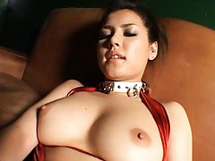 Maria Ozawa Asian puts mini vibrator on her slit under red pants