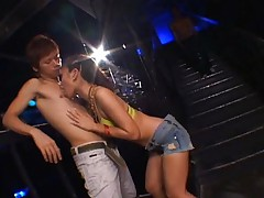 Nana Nanami turns on two horny asian guys that really want her