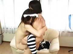 Japanese AV Model with long socks gets strong frigging of pussy