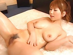 Japanese AV Model with oil on curves and big bust is fingered