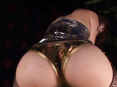 Japanese AV Model rubs boner with ass cheeks in golden panty