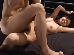 Azumi Harusaki Asian holding bed while her slit is fucked roughly
