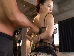 Mako Oda Asian in sexy black lingerie has hands tied with ropes