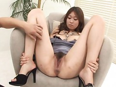 Risa Misaki Asian on high heels gets vibrator and fingers in cunt