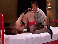 Akiho Yoshizawa nasty Asian slut climbs on her boyfriends cock for a ride