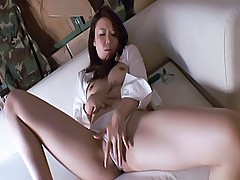 Japanese AV Model hot Asian slut has fun rubbing her wet pussy