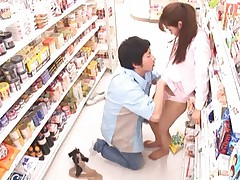 Mihiro Asian doll comes at shopping and has hairy cunt fingered