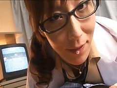 Honami Takasaka uses her sexy tongue to make her patient hard
