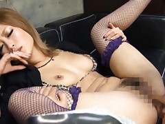 Aika Asian doll in fishnet stockings has hole fuck in fisting