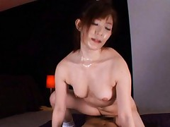 Japanese AV Model is all sweat from riding cock like crazy bitch